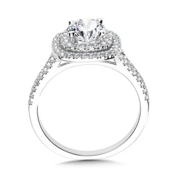 Cushion-Shaped Double-Halo Split Shank Engagement Ring