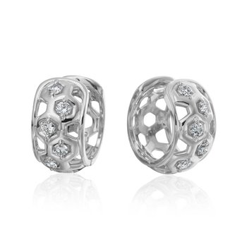 "Honeybee ""B"" Diamond Honeycomb Motif Huggie Earrings E807DG"