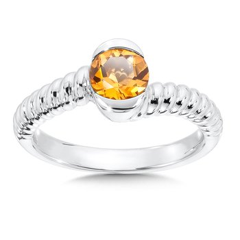 Sterling Silver Citrine Colore Of Life Stack Ring