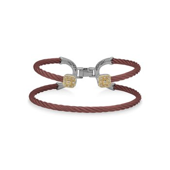 Burgundy Cable Balance Bracelet with 18kt Yellow Gold & Dual Square Diamond Stations