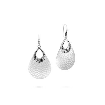 Classic Chain Teardrop Earring in Hammered Silver. Available at our Halifax store.