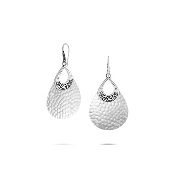 Classic Chain Teardrop Earring in Hammered Silver
