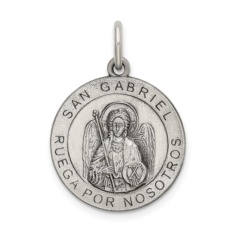 J.F. Kruse Signature Collection Sterling Silver Satin Antiqued Spanish St. Gabriel Medal Pendant
