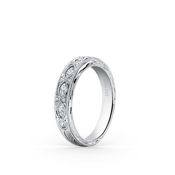 Engraved Marquise Diamond Wedding Band