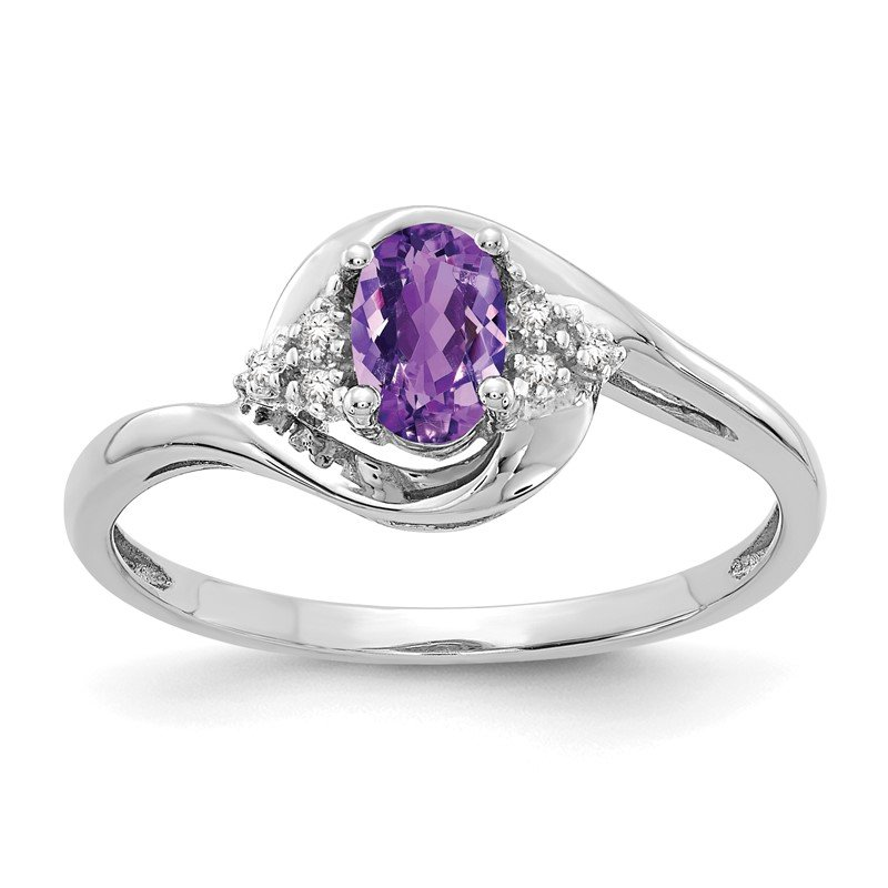 Quality Gold 14k White Gold Amethyst and Diamond Ring