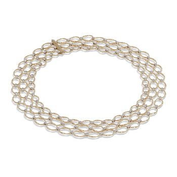 Marrakech Onde Collection 18K Yellow Gold and Diamond Flat Link Three Strand Necklace
