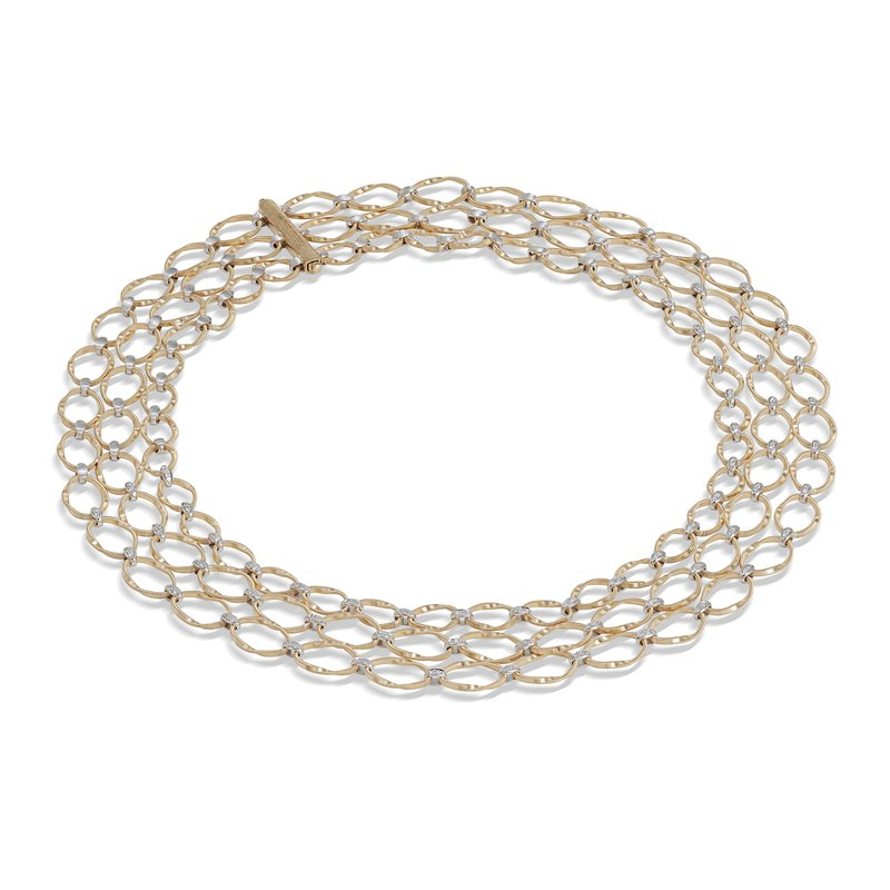 Marco Bicego Marrakech Onde Collection 18K Yellow Gold and Diamond Flat Link Three Strand Necklace