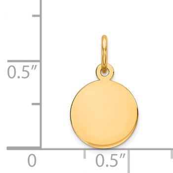 14k Plain .018 Gauge Circular Engravable Disc Charm