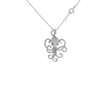 18Kt Gold Octopus Pendant With Diamonds