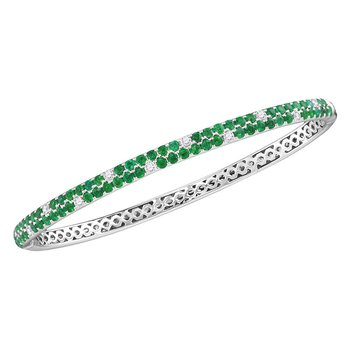 18kt White Gold Womens Round Emerald Diamond Double Row Bangle Bracelet 2-7/8 Cttw