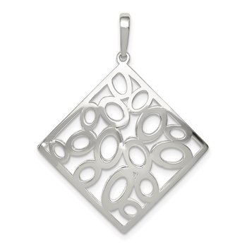 Sterling Silver Polished Square with Circles Pendant