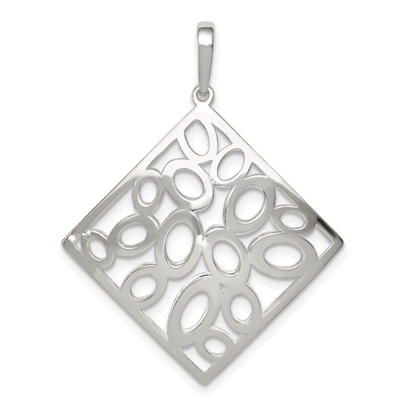 Quality Gold Sterling Silver Polished Square with Circles Pendant