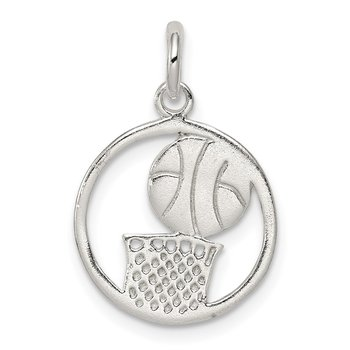 Sterling Silver Polished Basketball Pendant
