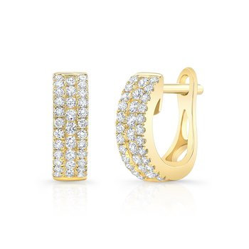 Yellow Gold Channel Set Mini Huggie Hoops