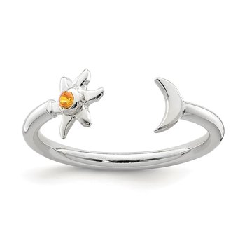 Sterling Silver Polished Half Moon and Sun Orange CZ Adjustable Ring