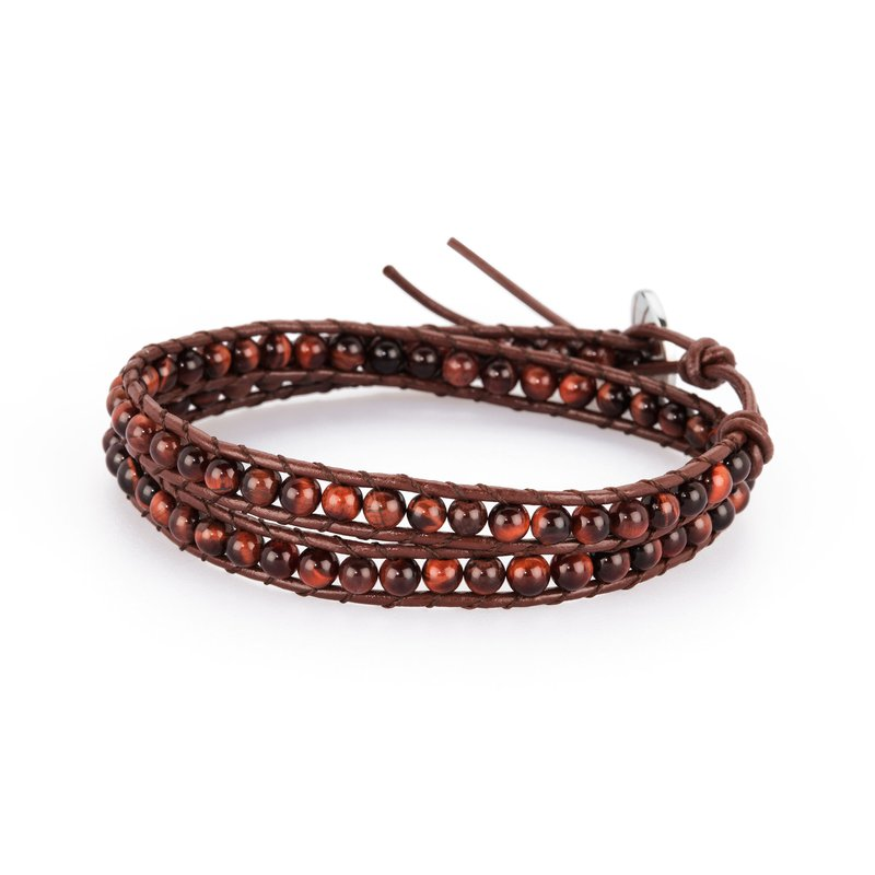 Brosway Bracelet. Brown leather, 316L steel closure and red tiger's eye natural stones