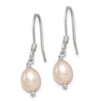 Sterling Silver Pink Cultured FW Pearl Dangle Earrings