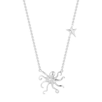"Beautiful Sterling Silver Octopus Pendant 18"" Chain 1"" diameter"