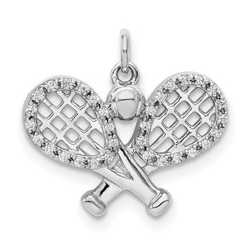 14k White Gold Diamond Rackets and Ball Pendant
