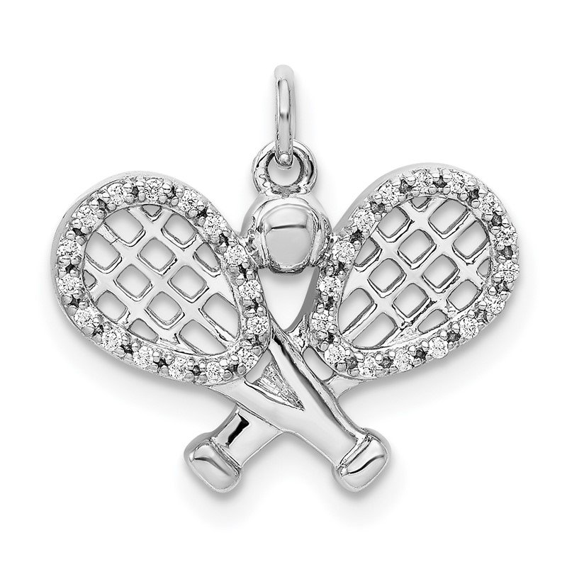 Quality Gold 14k White Gold Diamond Rackets and Ball Pendant