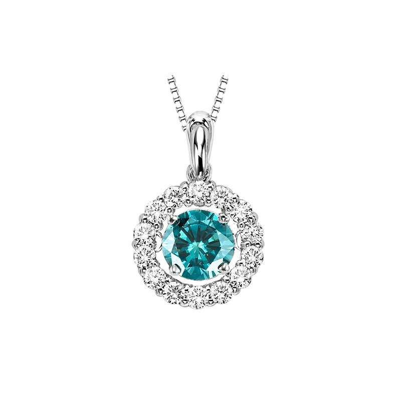 Rhythm of Love 14K Blue & White Diamond Rhythm Of Love Pendant 1 1/4 ctw (1 ct Center Blue)