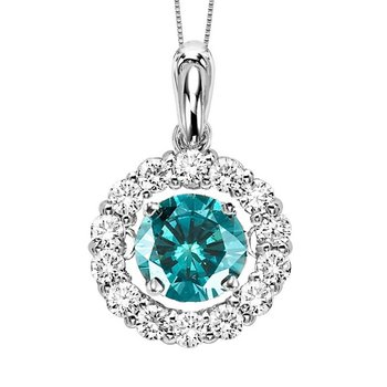 14K Blue & White Diamond Rhythm Of Love Pendant 1 1/4 ctw (1 ct Center Blue)