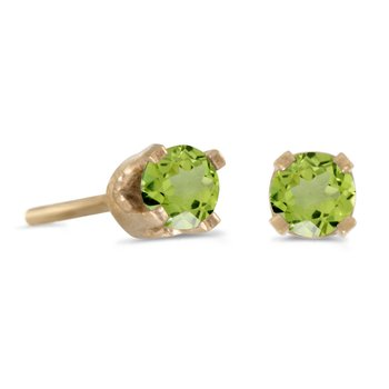 3 mm Petite Round Genuine Peridot Stud Earrings in 14k Yellow Gold