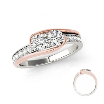 White & Rose Gold Two Stone