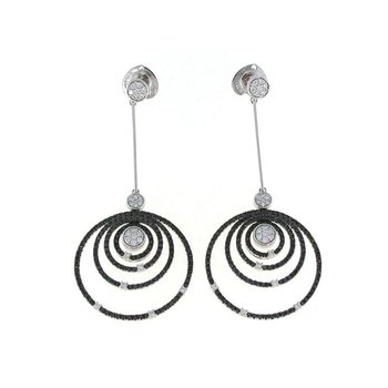 18KT GOLD WHITE AND BLACK DIAMOND CIRCLE DROP EARRINGS