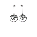 Roberto Coin 18Kt Gold White And Black Diamond Circle Drop Earrings