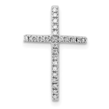 Sterling Silver Rhodium-plated Diamond Cross Chain Slide