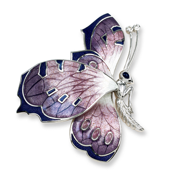 Sterling Silver Butterfly Brooch-Purple.  Diamonds, Amethyst.
