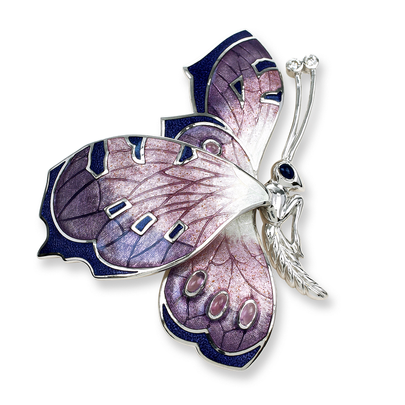 Nicole Barr Designs Sterling Silver Butterfly Brooch-Purple.  Diamonds, Amethyst.