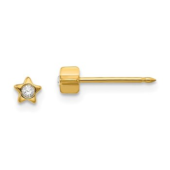 Inverness 24k Plated Star with Crystal Earrings
