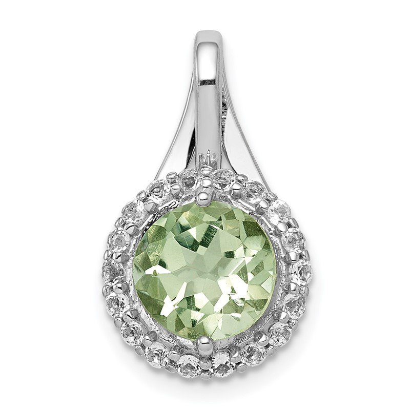 Quality Gold Sterling Silver Rhodium-plated White Topaz & Green Quartz Circle Pendant