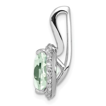 Sterling Silver Rhodium-plated White Topaz & Green Quartz Circle Pendant