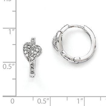 Sterling Silver & CZ Brilliant Embers Rhodium Heart Hoop Earrings