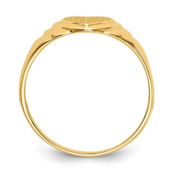 14k 6.75x6.75mm Closed Back Children's Heart Signet Ring