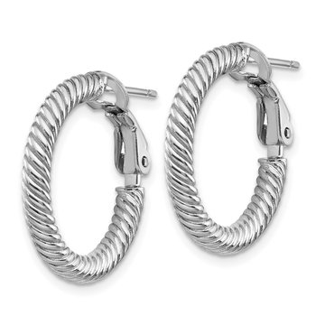 10k 3x15 White Gold Twisted Round Omega Back Hoop Earrings