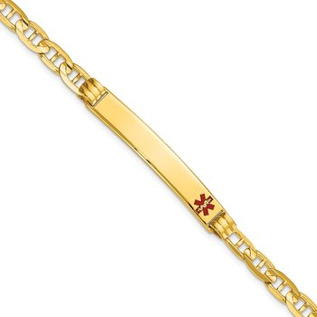 14K Medical Red Enamel Anchor ID Bracelet