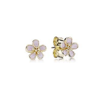 Cherry Blossom Pink Enamel Stud Earrings, 14K Gold