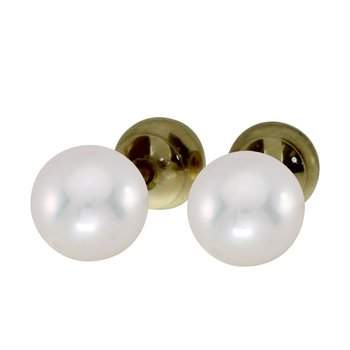 14k Yellow Gold 7mm Quality Pearl Reversible Stud Earrings
