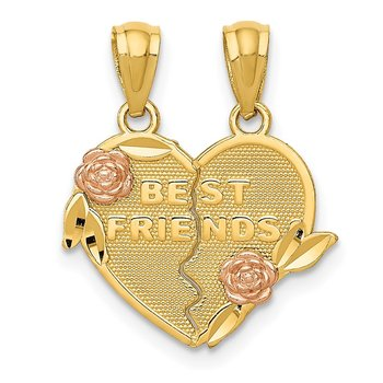 14k Two-tone BEST FRIENDS Break Apart Heart Pendant
