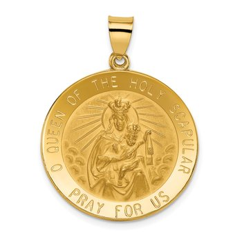14k Queen of the Holy Scapular Reversible Medal Hollow Pendant