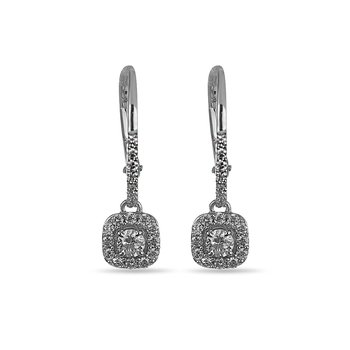14K WG Diamond Square Halo Forever Center of My Universe French Back Dangling Earring RBL Center 1/8 cts.
