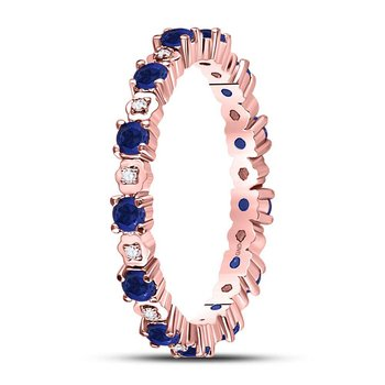 10kt Rose Gold Womens Round Blue Sapphire Diamond Eternity Band Ring 1.00 Cttw