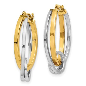 14k Two-tone Oval Hoops w/Loop Ear