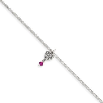 Sterling Silver Antiqued Dark Pink Crystals Dangling Hearts Anklet