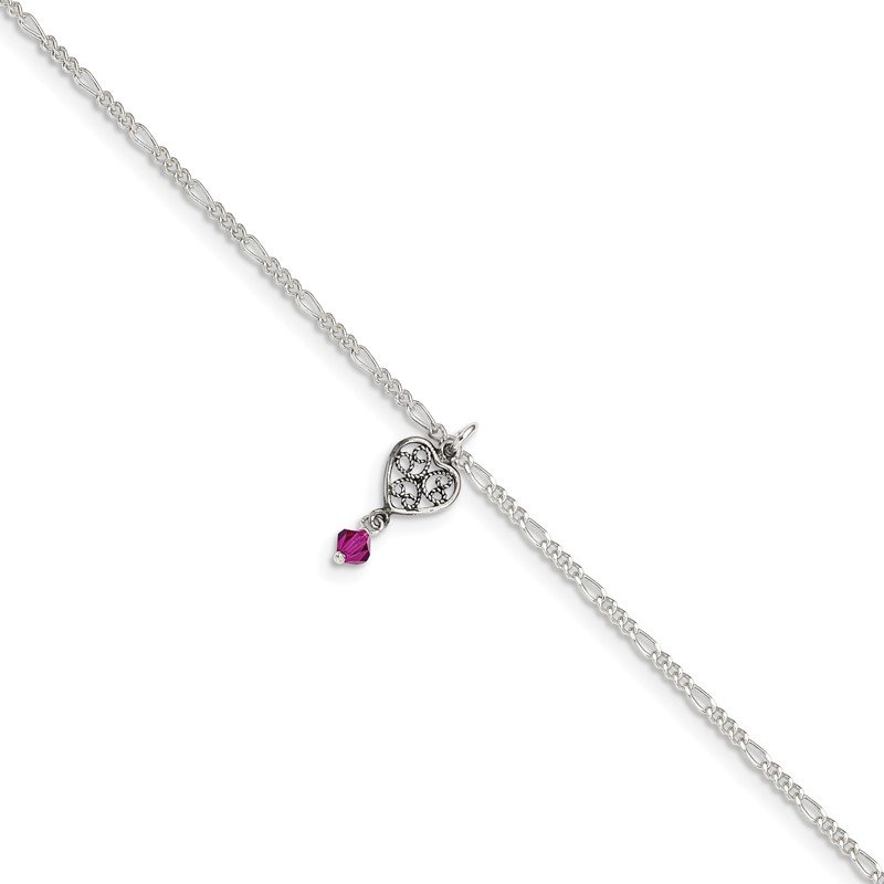 Quality Gold Sterling Silver Dark Pink Crystal Dangling Antiqued Heart 10 inch Anklet