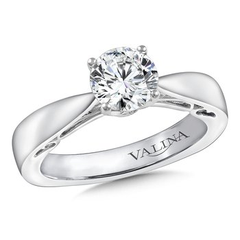 Diamond Solitaire Engagement Ring Mounting in 14K White Gold (.10 ct. tw.)